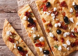 recette foccacia fromage chevre olives